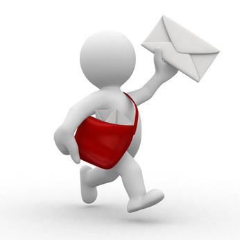 3d postman with envelope and bag